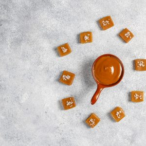 Healthy delicious homemade caramel candies ,top view